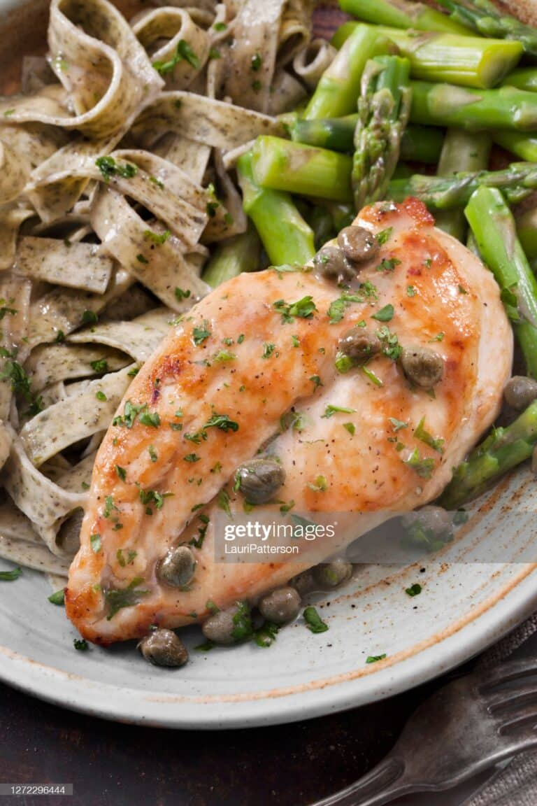 Chicken Piccata with Herb Pasta, Asparagus and Fresh Artisan Bread