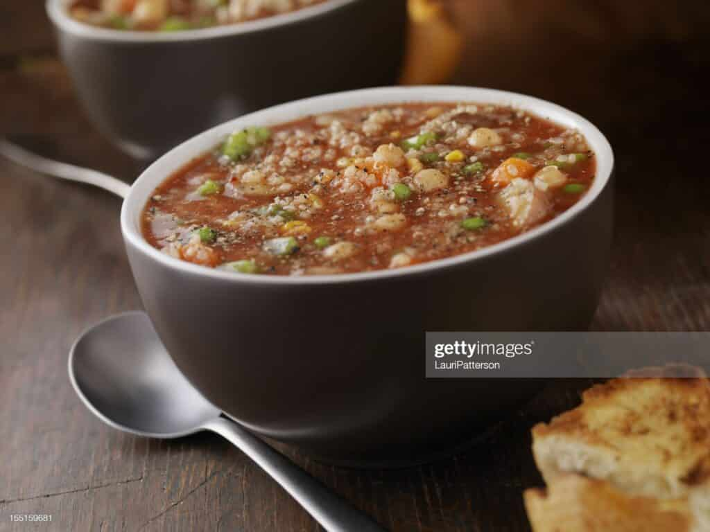 Quinoa Vegetable Soup with Chickpeas, Fresh Herbs and Toasted Bread- Photographed on Hasselblad H3D2-39mb Camera